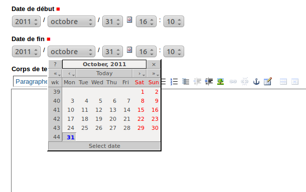 Gestion des dates - calendrier en pop-up