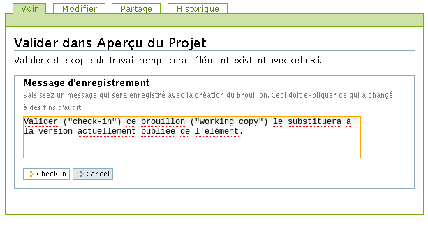 Working Copy - Étape 5 - Confirmation et Note de version